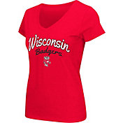 Colosseum Athletics Women's Wisconsin Badgers Red Script Graphic V-Neck T-Shirt