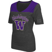 Colosseum Athletics Women's Washington Huskies Grey Twist V-Neck T-Shirt