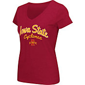 Colosseum Athletics Women's Iowa State Cyclones Cardinal Script Graphic V-Neck T-Shirt