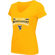 Colosseum Athletics Women's West Virginia Mountaineers Gold Graphic V-Neck T-Shirt