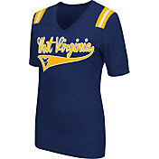 Colosseum Athletics Women's West Virginia Mountaineers Blue Artistic V-Neck T-Shirt