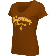 Colosseum Athletics Women's Wyoming Cowboys Brown Script Graphic V-Neck T-Shirt