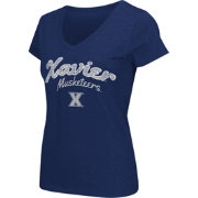 Colosseum Athletics Women's Xavier Musketeers Blue Script Graphic V-Neck T-Shirt