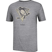 CCM Men's Pittsburgh Penguins Bigger Logo Tri-Blend Grey T-Shirt