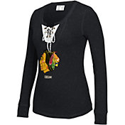 CCM Women's Chicago Blackhawks Black Lace Up Henley