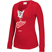 CCM Women's Detroit Red Wings Red Lace Up Henley