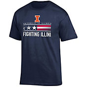 Champion Men's Illinois Fighting Illini Blue American Flag Logo T-Shirt