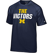 Champion Men's Michigan Wolverines Blue Football Slogan T-Shirt