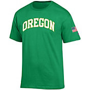 Champion Men's Oregon Ducks Green American Flag T-Shirt