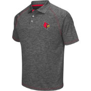 Chiliwear Men's Louisville Cardinals Grey Grid Performance Polo