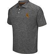 Chiliwear Men's Wyoming Cowboys Grey Grid Performance Polo