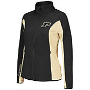 Colosseum Athletics Women's Purdue Boilermakers Black/Old Gold Alpine Quilted Jacket