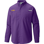 Columbia Men's LSU Tigers Purple Tamiami Long Sleeve Shirt