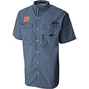 Columbia Men's Auburn Tigers Gingham Checkered Super Bonehead Shirt