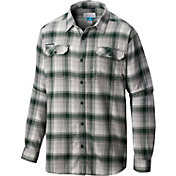 Columbia Men's Michigan State Spartans Green Plaid Flare Gun Flannel Long Sleeve Shirt