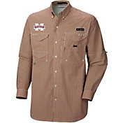 Columbia Men's Mississippi State Bulldogs Maroon Plaid Super Bonehead Long Sleeve Shirt