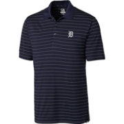 Cutter & Buck Men's Detroit Tigers Navy Franklin Stripe DryTec Performance Polo