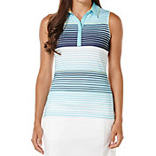 Callaway Women's Performance Stripe Printed Sleeveless Golf Polo
