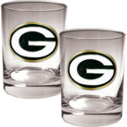 Great American Products Green Bay Packers 2-Piece Logo Rocks Glass Set