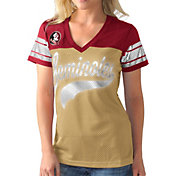 G-III For Her Women's Florida State Seminoles Gold/Garnet Pass Rush T-Shirt