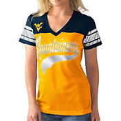 G-III For Her Women's West Virginia Mountaineers Gold/Blue Pass Rush T-Shirt
