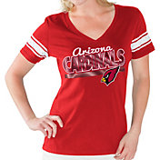 G-III for Her Women's Arizona Cardinals Foil V-Neck Red T-Shirt