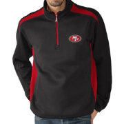 G-III Men's San Francisco 49ers Hail Mary Half-Zip Black Pullover