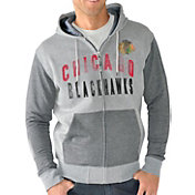 G-III Men's Chicago Blackhawks Grey Safety Full Zip Hoodie