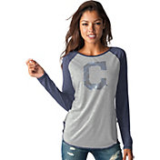 Touch by Alyssa Milano Women's Cleveland Indians Grey/NavyLong Sleeve Shirt
