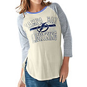 G-III for Her Women's Tampa Bay Lightning Hang Time Three Quarter Sleeve Vintage White T-Shirt
