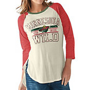 G-III for Her Women's Minnesota Wild Hang Time Three Quarter Sleeve Vintage White T-Shirt
