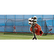 Heater BaseHit Baseball Pitching Machine & PowerAlley 20' Batting Cage