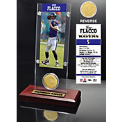 The Highland Mint Baltimore Ravens Joe Flacco Ticket and Bronze Coin Desktop Display
