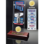 Highland Mint New York Rangers 4x Stanley Cup Champions Ticket and Bronze Coin Acrylic Display