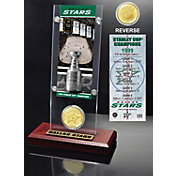 Highland Mint Dallas Stars 1999 Stanley Cup Champions Ticket and Bronze Coin Acrylic Display