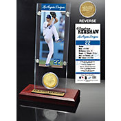 The Highland Mint Los Angeles Dodgers Clayton Kershaw Acrylic Desktop Ticket and Minted Coin Display