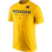 Jordan Men's Michigan Wolverines Maize Football Practice T-Shirt