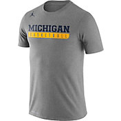 Jordan Men's Michigan Wolverines Grey Legend Basketball Practice T-Shirt