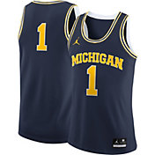 Jordan Men's Michigan Wolverines #1 Blue Replica Basketball Jersey
