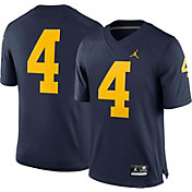 Jordan Men's Michigan Wolverines #4 Blue Limited Football Jersey