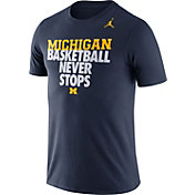 Jordan Men's Michigan Wolverines Blue Basketball Team T-Shirt