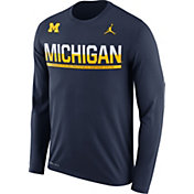 Jordan Men's Michigan Wolverines Blue Staff Sideline Long Sleeve Shirt