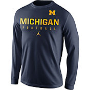 Jordan Men's Michigan Wolverines Blue Football Practice Long Sleeve