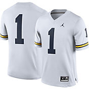 Jordan Men's Michigan Wolverines White #1 Game Football Jersey