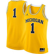 Jordan Men's Michigan Wolverines #1 Maize Replica Basketball Jersey