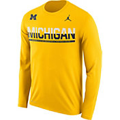Jordan Men's Michigan Wolverines Maize Staff Sideline Long Sleeve Shirt