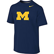 Nike Youth Michigan Wolverines Blue Logo Football Sideline Legend T-Shirt