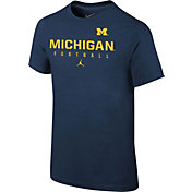 Jordan Youth Michigan Wolverines Blue Core Facility Football Sideline T-Shirt