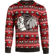 Klew Men's Chicago Blackhawks Black/Red Ugly Sweater