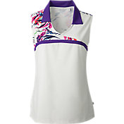Lady Hagen Women's Sunset Collection Floral Yoke Sleeveless Polo